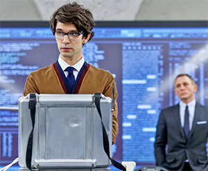 Ben Wishaw and Daniel Craig as Q and James Bond in Skyfall