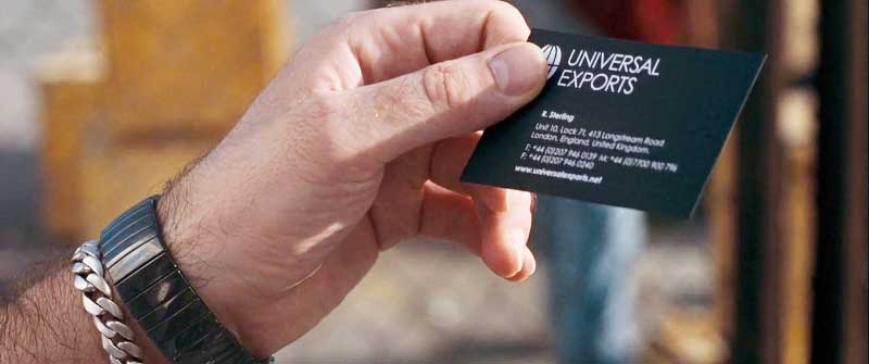 Universal Exports business card Quantum of Solace