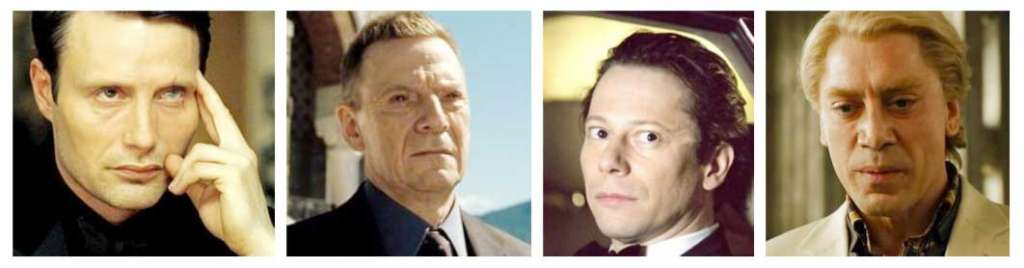 LeChiffre, Mr. White, Dominic Green, Silva - James Bond Villains